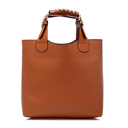 New Fashion Women Composite Bucket Bag Handbag Shopping Bag Big Vintage Designers High Quality PU Leather Shoulder Bags