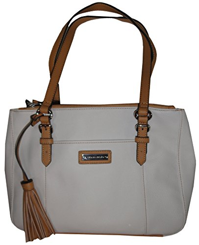 Tignanello Preppy Classics Leather Double Zip Shopper White/Honey