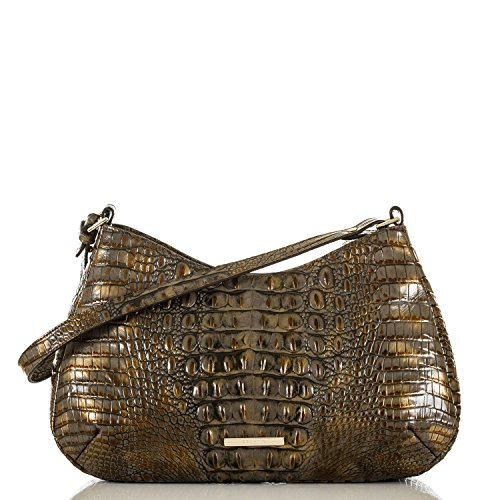 NEW AUTHENTIC BRAHMIN CAYSON EXOTIC EMBOSSED LEATHER SHOULDER HOBO (Fall Tortoise)