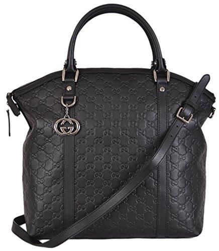 Gucci Women's GG Guccissima Convertible Black Leather Large Dome Purse