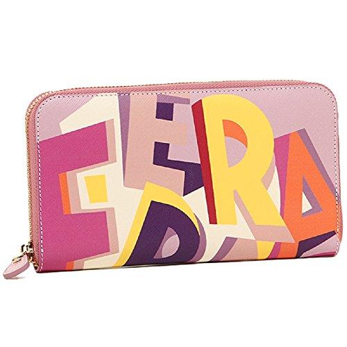 SALVATORE FERRAGAMO Multi-color Abstract Logo Saffiano Leather Zip Around Wallet