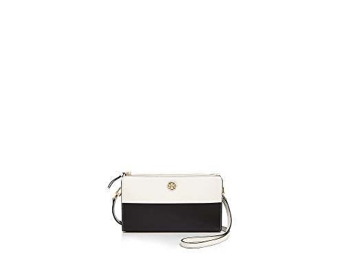 Tory Burch Color Block Perry Crossbody Black New Ivory White Leather Bag
