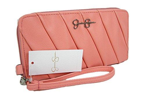New Jessica Simpson Wristlet Zip Around Wallet Purse Hand Bag Coral Peach Lisa