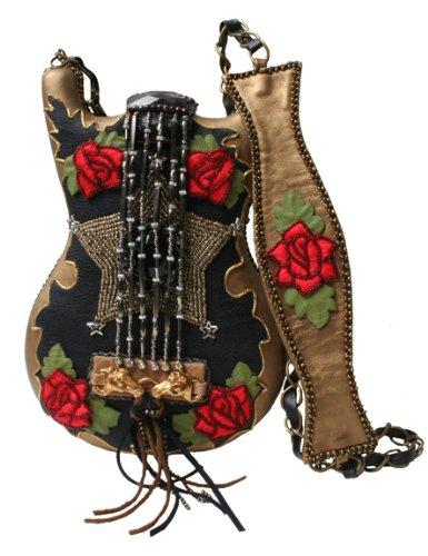 Mary Frances Rhinestone Cowgirl Gold & Black Guitar with Roses Handbag