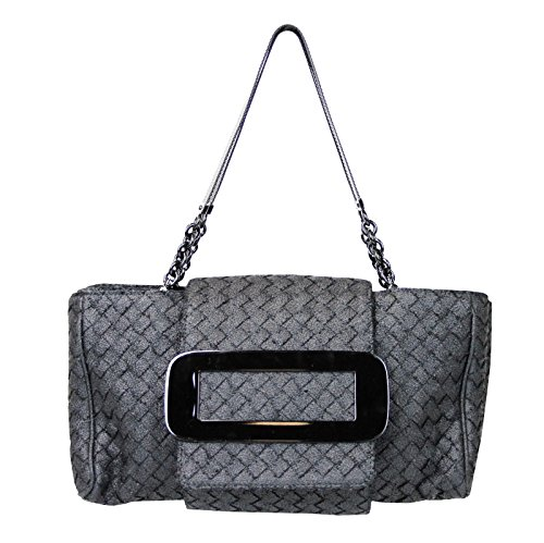 Bottega Veneta Women's Black Fabric Tote Intrecciato Evening Bag 309348 1000