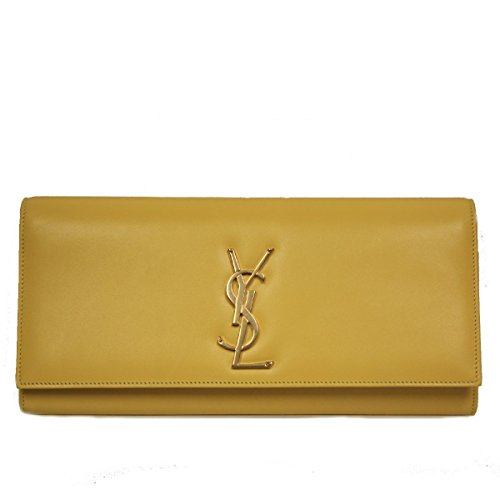 YSL Classic Monogram Saint Laurent Sac Cassandre Clutch in Neon Yellow Leather 326076