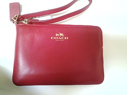 Coach Armor Smooth Leather Corner Zip Wristlet Goldtone Red 66449