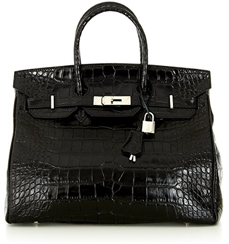 Designer Handbag Caty 14″ Croco Shiny Embossed Black Calf Leather Satchel / Tote with Silver Hardware & Shoulder Strap Made in Italy