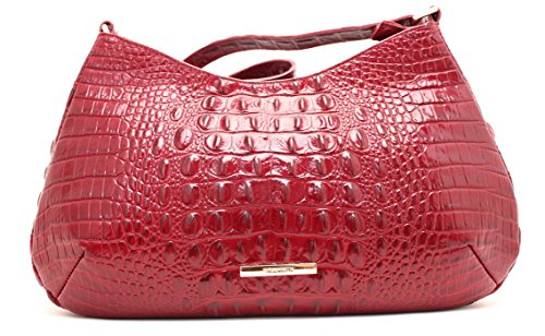 NEW AUTHENTIC BRAHMIN CAYSON EXOTIC EMBOSSED LEATHER SHOULDER HOBO (Carmine Red)