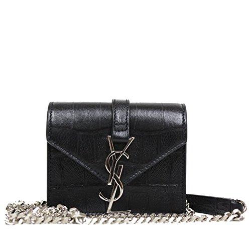 Saint Laurent YSL Candy Monogram Croc Embossed Leather Chain Shoulder Mini Bag 354490