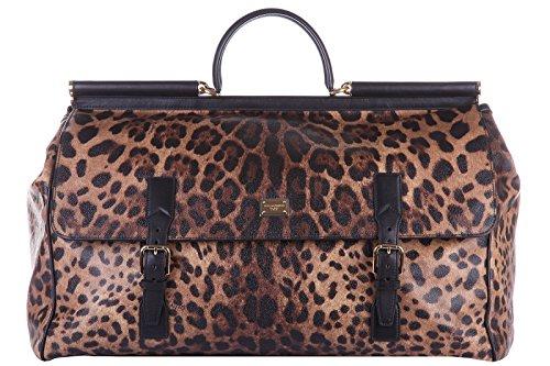 Dolce&Gabbana genuine leather travel duffle weekend shoulder bag brown