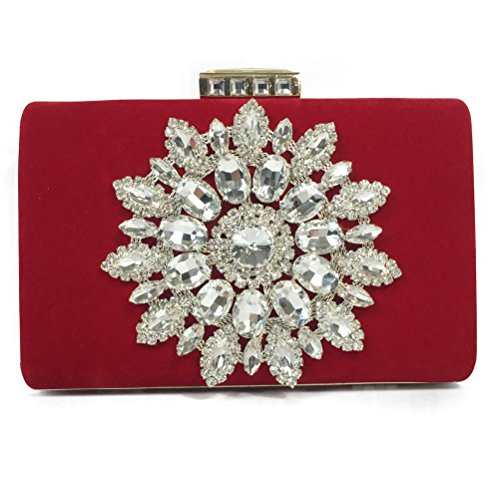 Taidaf-Velvet Series-Glitter Big Rhinestone Strap Evening Bag Prom Wedding Clutches