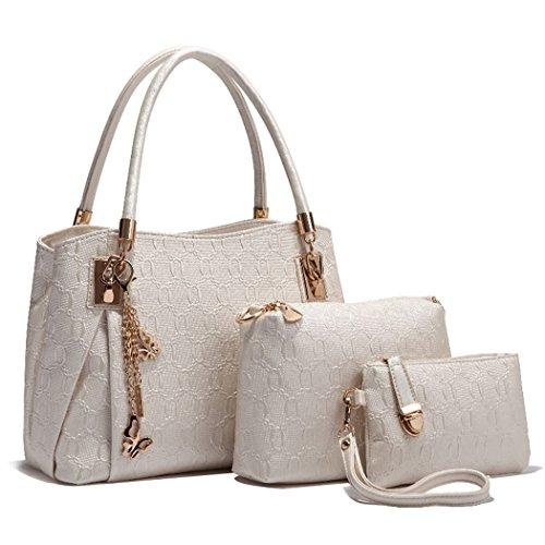 Deluxe Women 3 Piece Tote Bag Pu Leather Handbag Purse Bags Set (White)