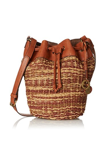 Lucky Brand Women's Straw Kenya Bucket Tote Crossbody Bag Natural Multi