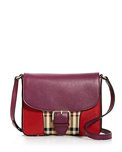 Burberry Horseferry Check Multi Trim Small Dickens Shoulder Bag Parade Red Dark Plum
