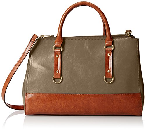 Emilie M. Kimberley Two-Tone Double Zipper Satchel Shoulder Bag