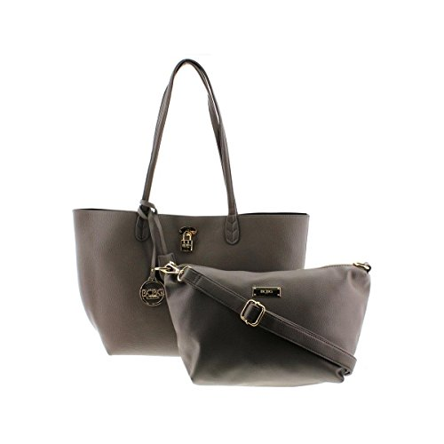 BCBG Paris Womens Faux Leather Reversible Tote Handbag