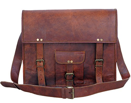 Komal's Passion leather 14 Inch Leather Laptop Bag Satchel Briefcase Shoulder College Bag