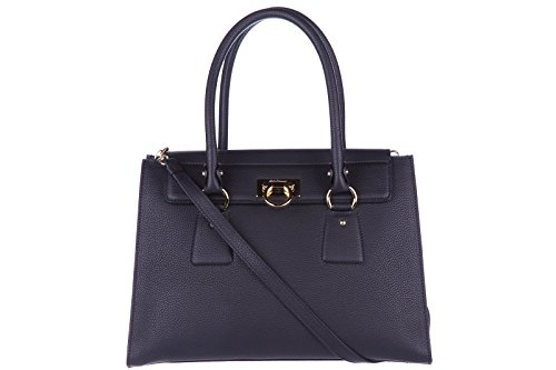 Salvatore Ferragamo women's leather handbag tote shopping bag purse lotty black