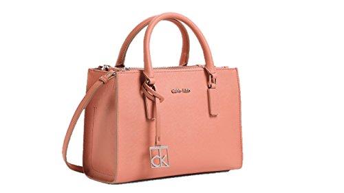 Calvin Klein womens scarlett city double zip carry all shoulder satchel bag handbag orange sorbet color