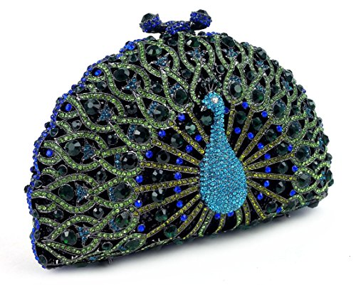 """Chandrika"" Turquoise and Aquamarine Jewel Studded Designer Peacock Clutch/Purse/Evening Bag with Cachet of Prestigious Swarovski Crystals. Bordeaux Collection Includes Platinum, Concealable/Removable 10″ Cuban Link Chain, Hard Case, 3″ Opening With Magnetic and Kiss-Lock Snap Closures, Hard Case with Sturdy Platinum Hinges. Silver Leather Inner Lining. Black Velvet Storage Bag with Draw-String Closure, Sleek, Black Storage Box (can be used as a gift box) and extra replacement jewels."