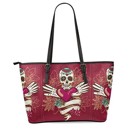 Ewa Paisley Sugar Skull Women's Leather Tote Shoulder Bags Handbags