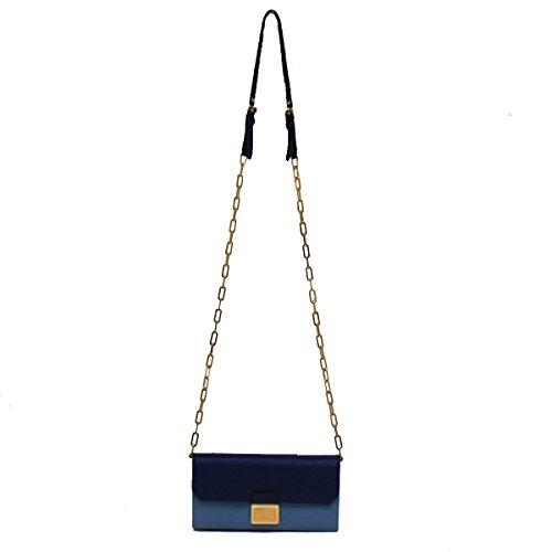 Miu Miu by Prada Color Block Blue Leather Women's Chain Shoulder Bag Clutch Wallet 5M1290