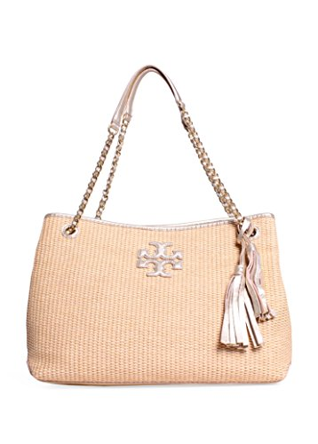 Tory Burch Thea Straw Chain Satchel in Natural