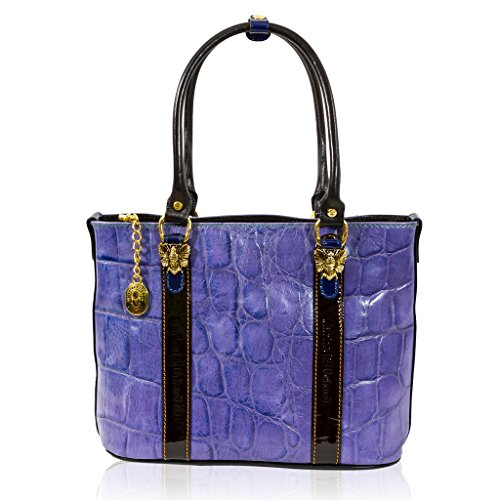 Marino Orlandi Italian Designer Purple Croc Leather Purse Large Tote Purse Bag
