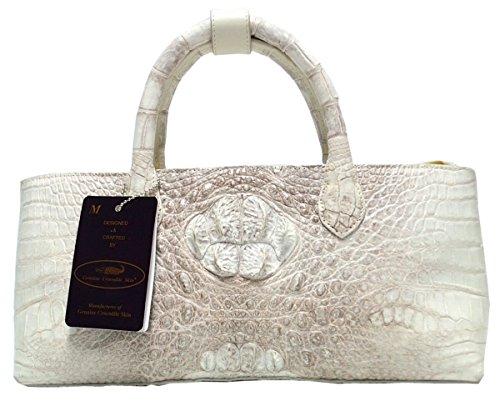 Authentic M Crocodile Skin Womens Hornback Leather Bag Tote White Handbag