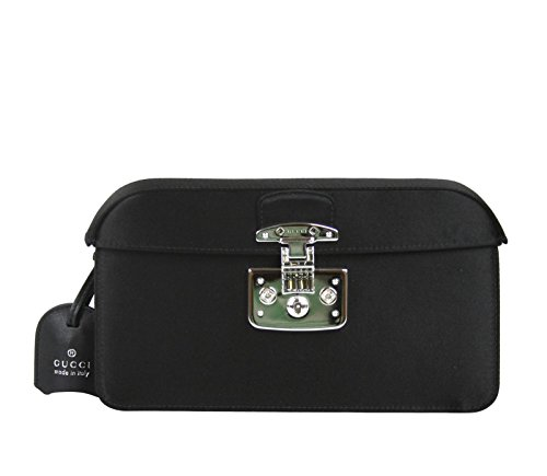 Gucci Women's Black Satin Lady Lock Evening Clutch Bag 331825 1000