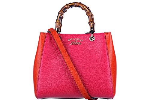 Gucci women's leather handbag shopping bag purse bamboo mini fucsia