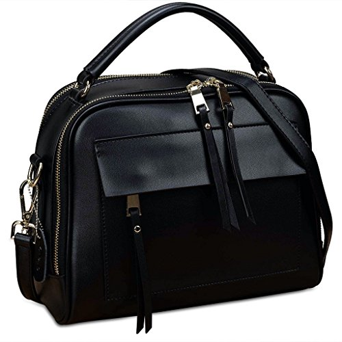 YALUXE Women's Cute Double Zipper Genuine Leather Handbag Top Handle Cross Body Shoulder Bag