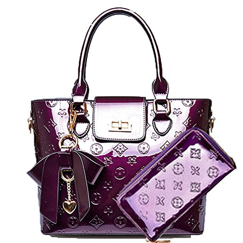Zzfab New Designer Handbags Style Purse and Wallet Set Purple
