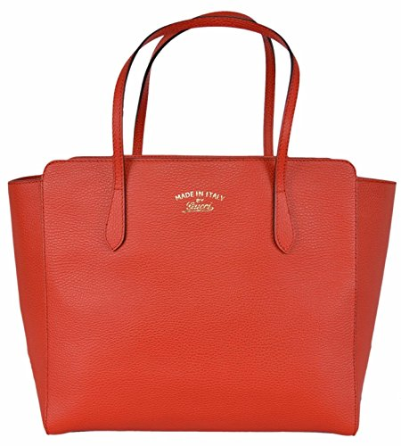 Gucci Women's Medium Red Textured Leather Trademark Logo Swing Tote Purse