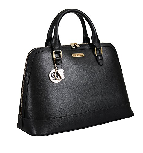 Versace Collections Women Leather Top Handle Handbag Satchel Black