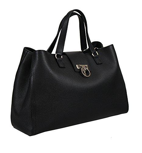 Versace Collection Women Pebbled Leather Medusa Top Handle Handbag Satchel Black