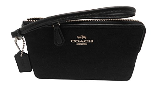 Coach F54627 Outline Signature Corner Zip Wallets & Wristlets Black/Black