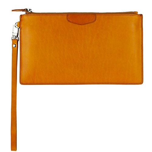 UER Unisex Handcrafted High Quality Oil-tanned Leather Wristlet Clutch Medium Organizer Pouch
