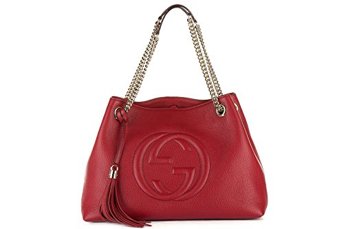 Gucci women's leather shoulder bag original soho red