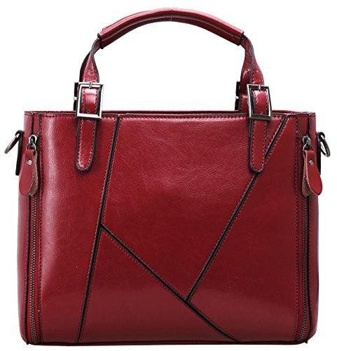 Heshe® Women's New Fashion Leather Tote Handle Bag Top Handbag Shoulder Bag Cross-body Handbag Personality Charm Simple Style for Ladies (Red)