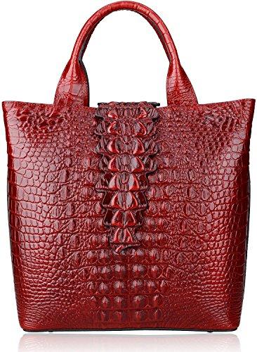 Pijushi Classic Embossed Crocodile Leather Tote Ladies Satchel Handbags 6061