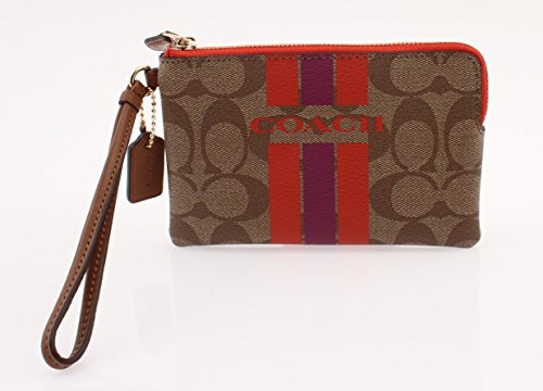 Coach Varsity Stripe Small Wristlet Corner Zip, Khaki and Watermelon F66052