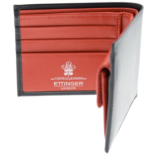 ETTINGER Leather Billfold Wallet with Coin Purse – Black with Red interior
