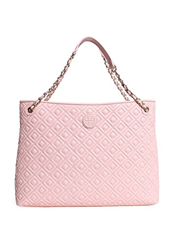 Tory Burch Marion Quilted Center-Zip Tote Bag In Pale Apricot