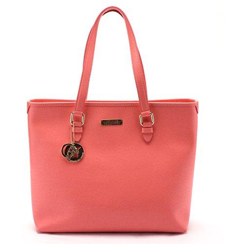 Versace Collections Women Leather Top Handle Handbag Satchel Pink