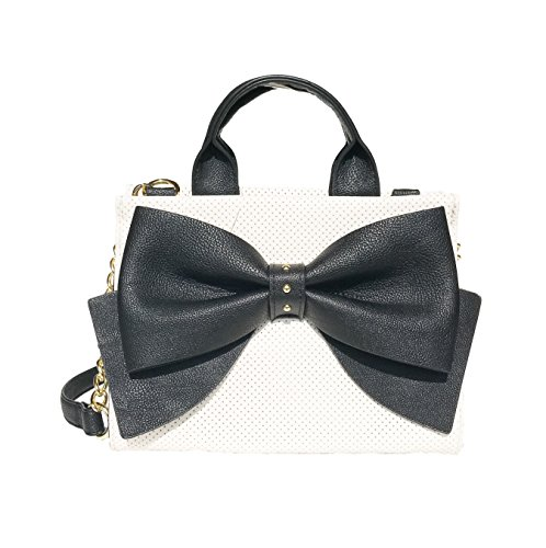 Betsey Johnson Bow Tote Satchel Shoulder Bag Handbag, Black and White