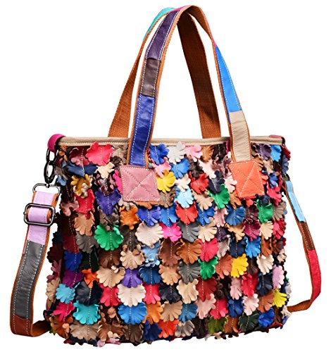 Heshe® Women's Hobo Soft Multi-color Flowers Stitching Splicing Tote Bag Hobo Cross-body Bag Shoulder Bag Handbag and Purses Personality Simple for Office Ladies