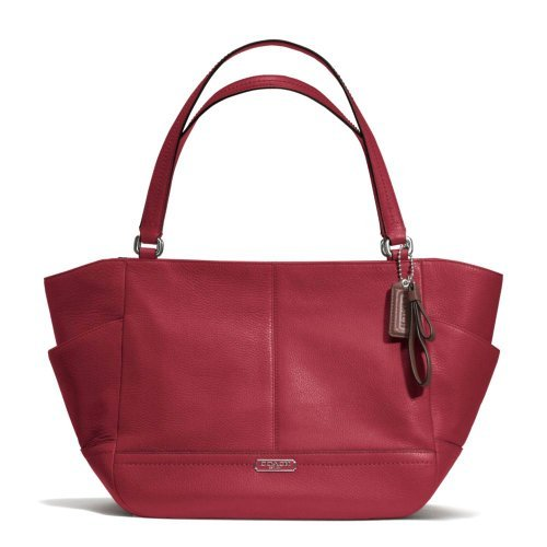 Coach 23284 Black Cherry Red Park Leather Carrie Tote Handbag