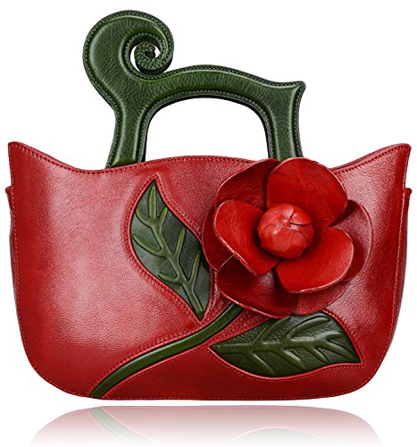 Pijushi Designer Inspired Flower Ladies Handmade Leather Tote Satchel Handbags 8861